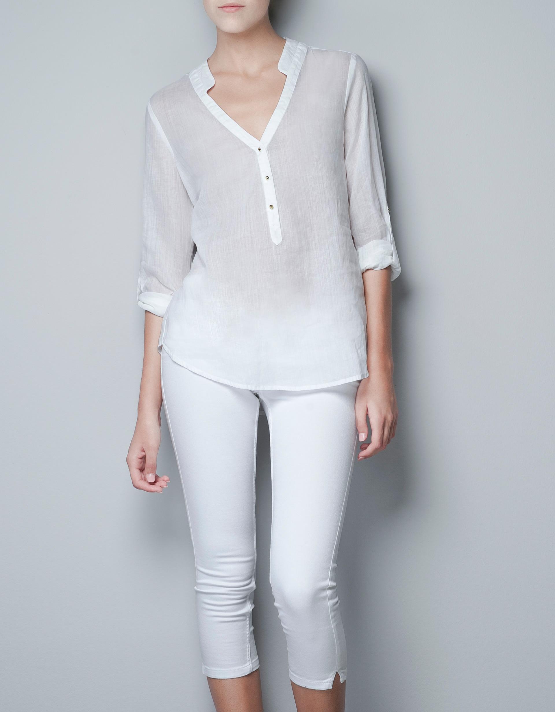 Zara White Long Sleeve Blouse 84