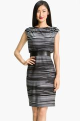 Adrianna Papell Printed Boatneck Jersey Dress - Lyst