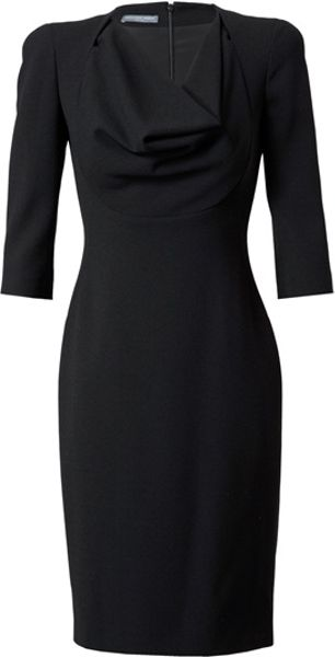 Alexander Mcqueen Crepe Wool Pencil Dress in Black - Lyst