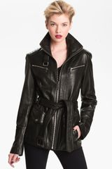 Andrew Marc Belted Leather Jacket - Lyst