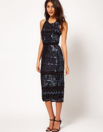 Asos Midi Dress with Holographic Embellishment - Lyst