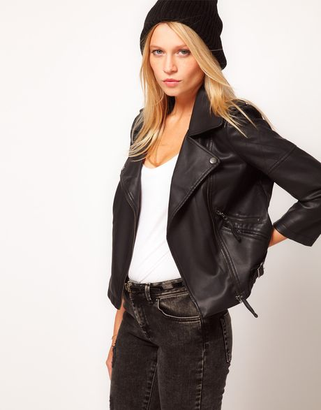 Asos Collection Asos Pu Quilted Biker Jacket in Black - Lyst