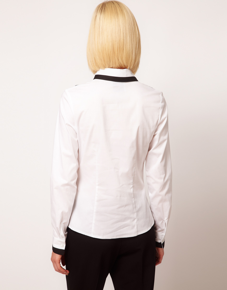 Asos collection shirt with contrast tipping and peter pan for White cotton shirt peter pan collar