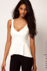 Asos Top with Peplum and Wide Straps - Lyst
