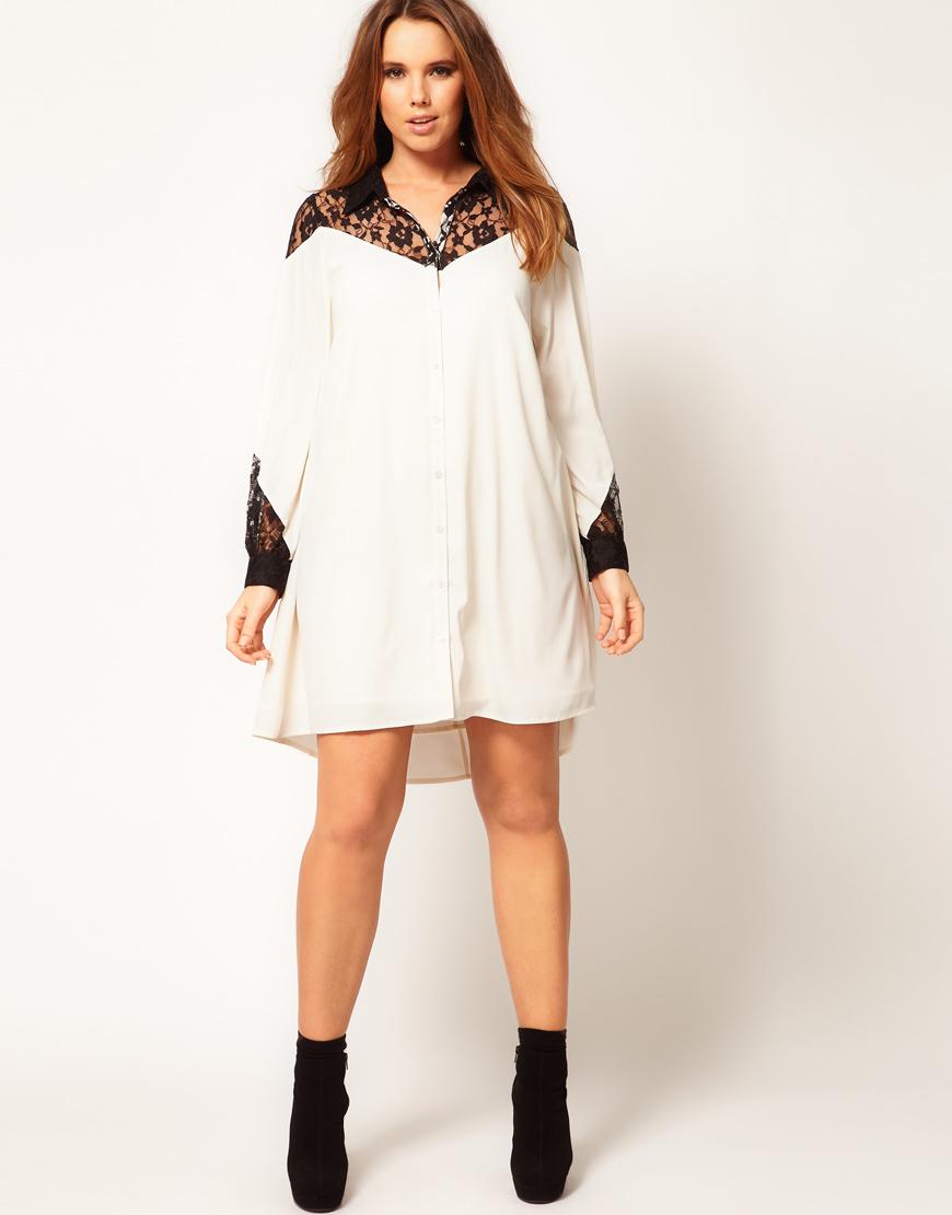 Asos cream lace shirt dress