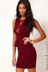 Asos Petite Exclusive Dress with Lace Insert and Peplum - Lyst