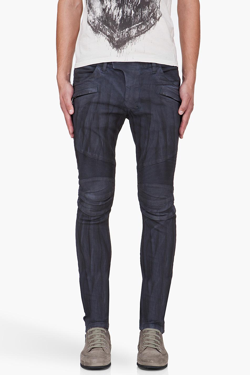 balmain slim blue biker jeans in blue for men lyst. Black Bedroom Furniture Sets. Home Design Ideas