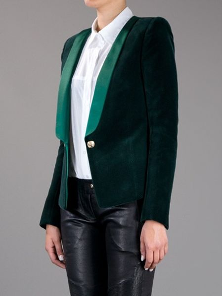 Balmain Velvet Smoking Jacket In Green Lyst