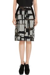 Bottega Veneta Jacquard Pencil Skirt - Lyst