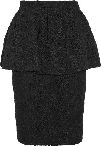 Burberry Prorsum Cotton Lace Peplum Skirt - Lyst