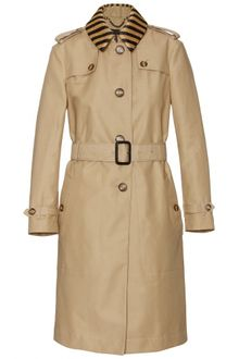 Burberry Prorsum Trench Coat with Raffia Collar - Lyst