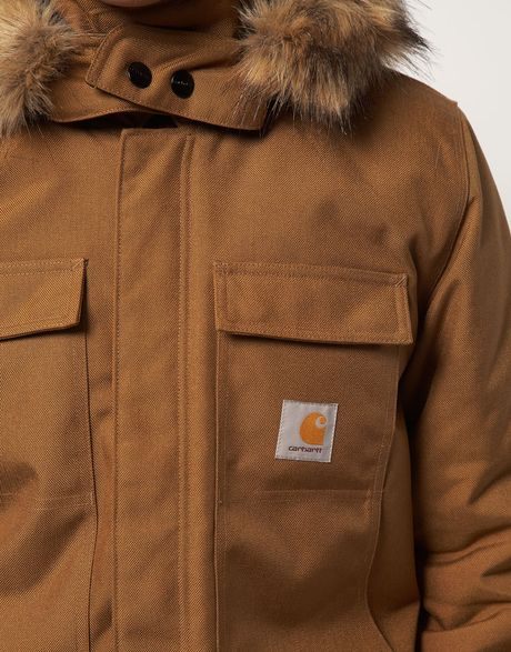 Carhartt Arctic Coat With Removable Hood In Brown For Men