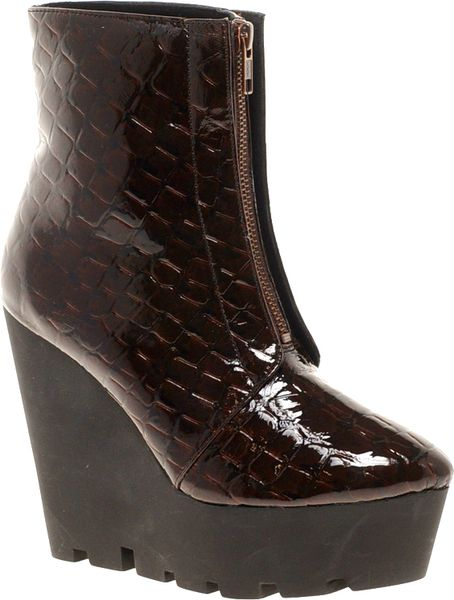 cheap monday monolit zip front croco wedge ankle boots in