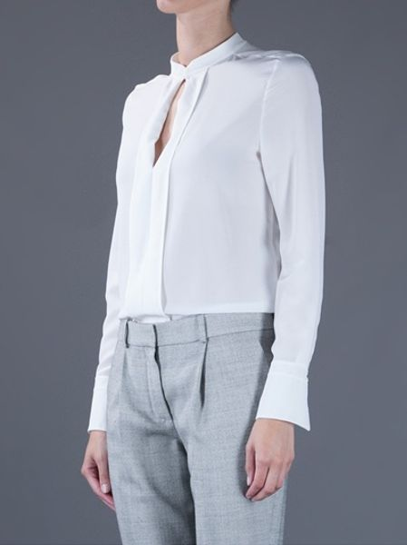 Stand Collar Blouse Designs : Chloé blouse with stand up collar in white lyst