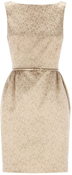 Coast Carla Metallic Dress in Gold (bronze) - Lyst