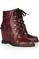 Diane Von Furstenberg Sapna Laceup Leather Wedge Ankle Boots - Lyst