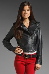 Diesel Lmarlene Treated Leather Jacket in Black - Lyst
