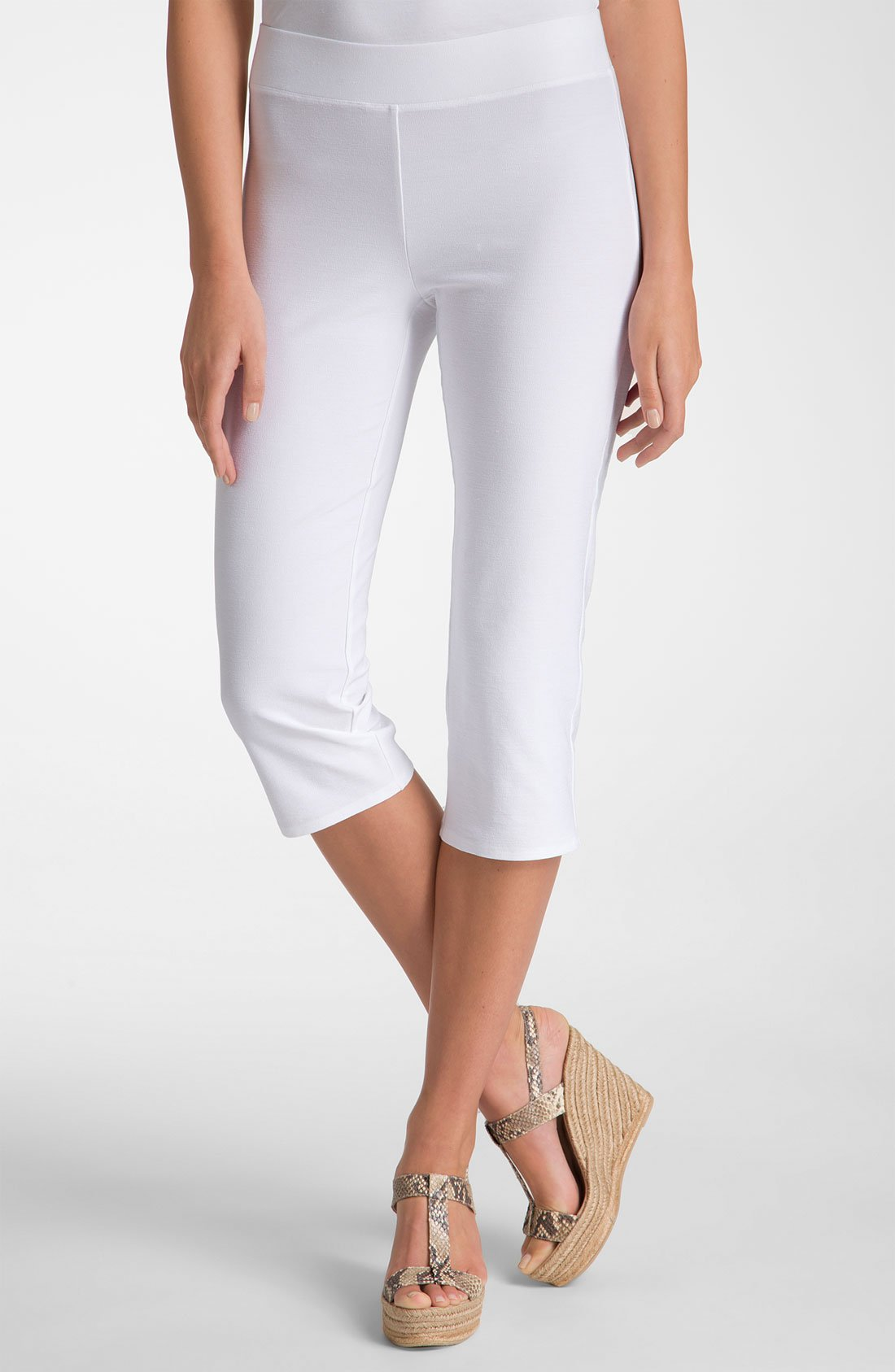 Eileen Fisher Stretch Crepe Capri Pants In White Lyst