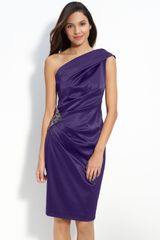 Eliza J Beaded One Shoulder Satin Dress - Lyst