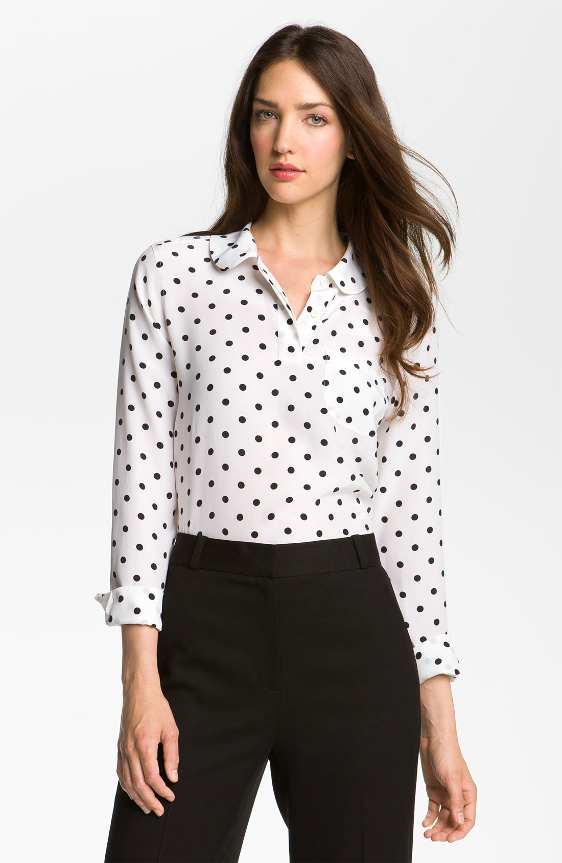 Black White Polka Dot Shirt Blouses | Fashion Ql