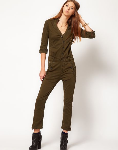 Creative Rompers Womens Jumpsuits Long Sleeve Bodysuit Khaki Female Ladies