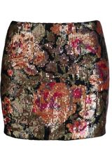 Haute Hippie Floral Sequin Mini Skirt