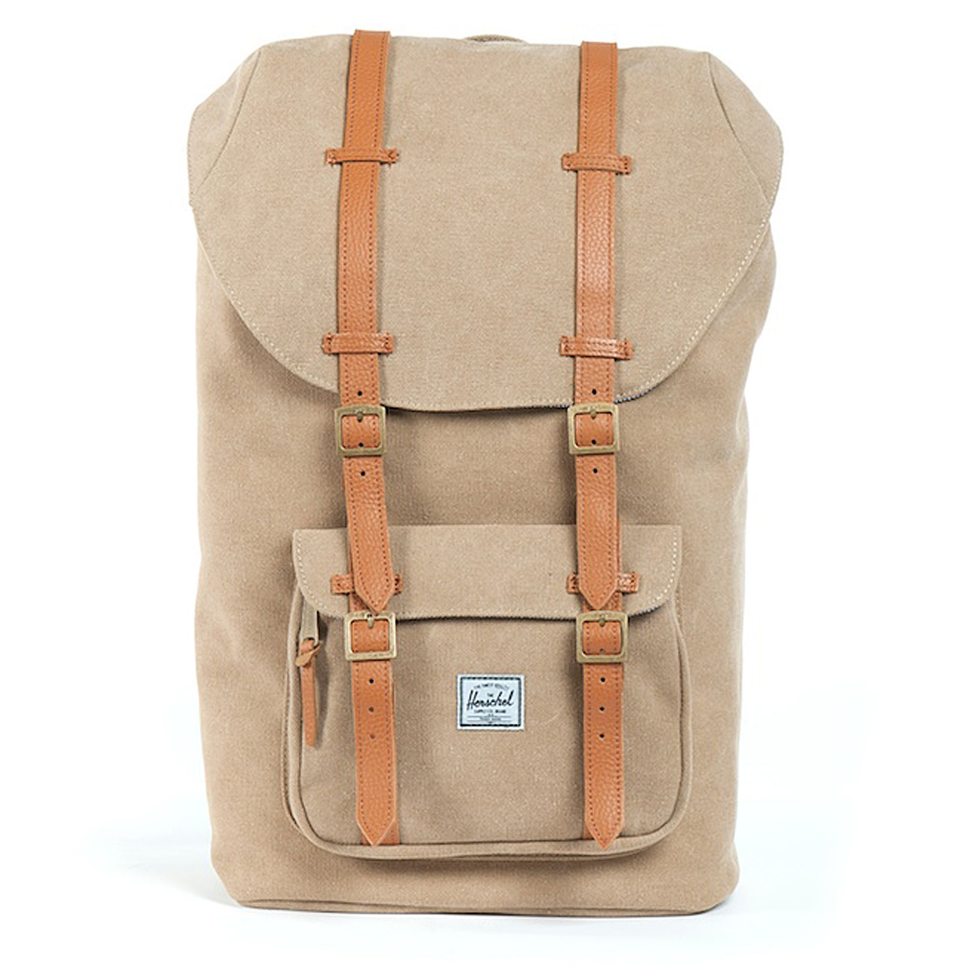 herschel supply co little america canvas backpack in beige for men khaki lyst. Black Bedroom Furniture Sets. Home Design Ideas