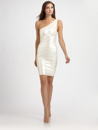 Hervé Léger Asymmetrical Sequined Bandage Dress - Lyst