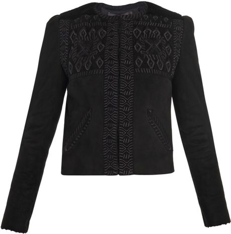 Isabel Marant Edge Embroidered Jacket in Black - Lyst