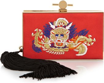 Jason Wu Daphne Embroidered Satin and Metal Box Clutch - Lyst