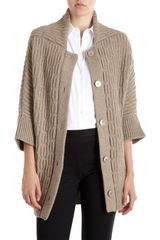 Jil Sander Square Neck Cardigan in Beige (oatmeal) - Lyst