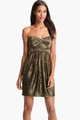 Jill Stuart Metallic Lace Sweetheart Dress - Lyst