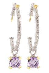 Judith Ripka Amethystdrop Hoop Earrings - Lyst