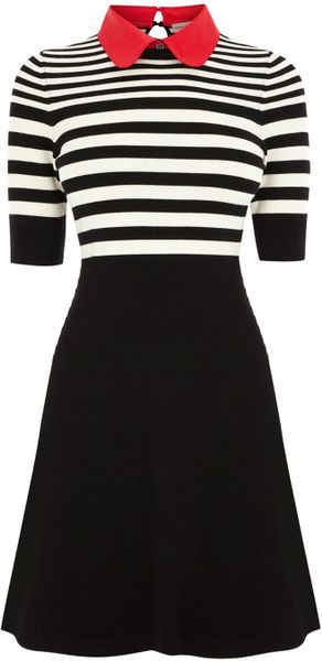 Karen Millen Stripe Polo Knit Dress in Black