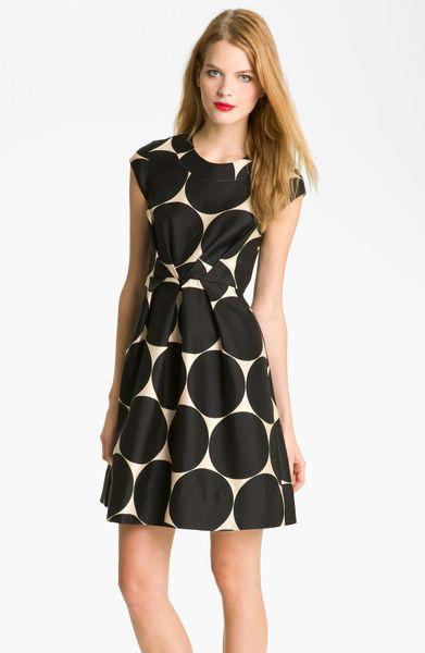 Kate Spade Jane Fit Flare Dress In Black Beige Black