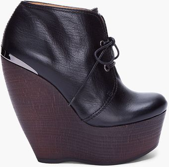 Lanvin Black Leather Wooden Wedges - Lyst