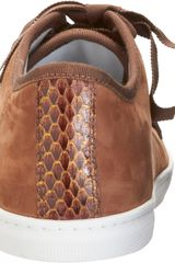 Lanvin Cap Toe Low Top Sneaker in Animal (brown) - Lyst