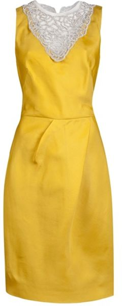 Lela Rose Crystal Embroidered Dress in Yellow (marigold)