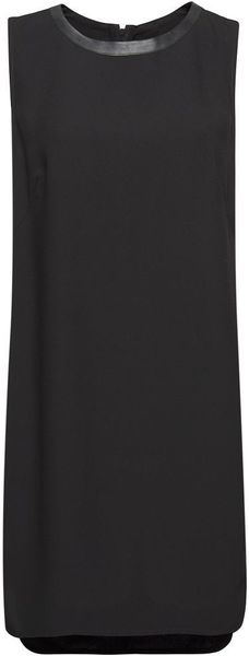 Mango Leather Effect Panels Dress in Black - Lyst