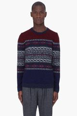 McQ by Alexander McQueen Red Navy Fairisle Sweater - Lyst