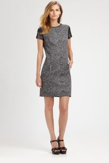 Michael by Michael Kors Leathersleeve Tweed Dress - Lyst