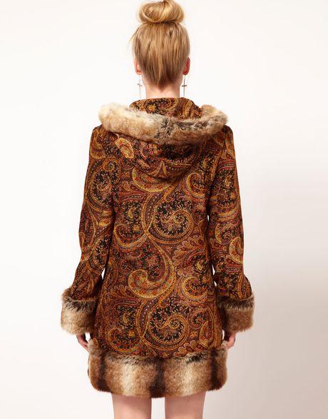 Minkpink Hendrix Paisley Velvet Faux Fur Trim Coat In