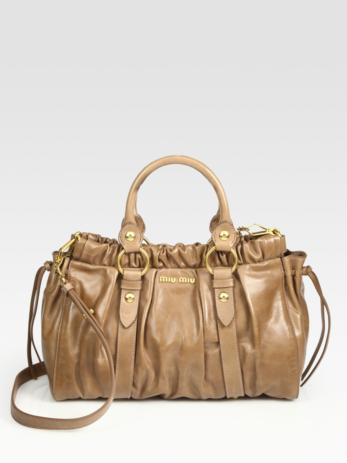 Lyst miu vitello lux medium ring satchel in metallic jpg 1188x1584 Miu  vitello lux bag 36b7e2e751