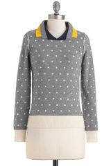Modcloth Lauren Moffatt Double The Dots Sweater in Gray (navy) - Lyst
