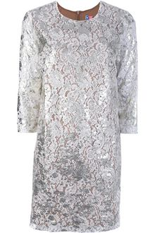 MSGM Floral Lace Shift Dress - Lyst