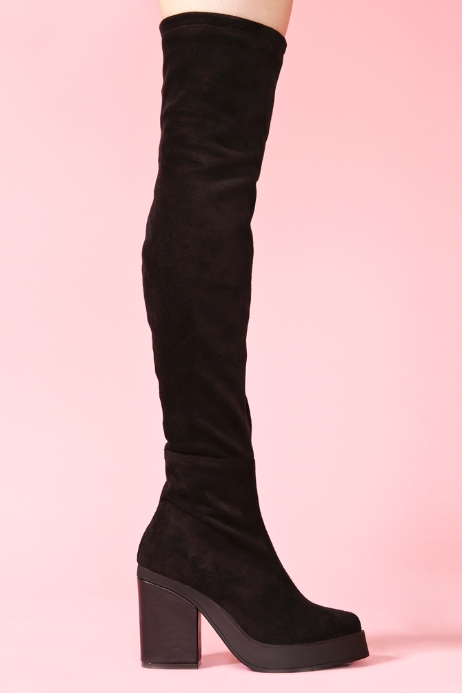 gal emi thigh high boot black suede in black lyst