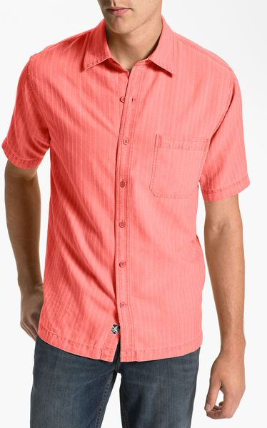 Nat nast baja silk cotton sport shirt in red for men for Coral shirts for guys