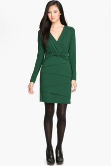 Nicole Miller Surplice Seam Detail Jersey Sheath Dress - Lyst