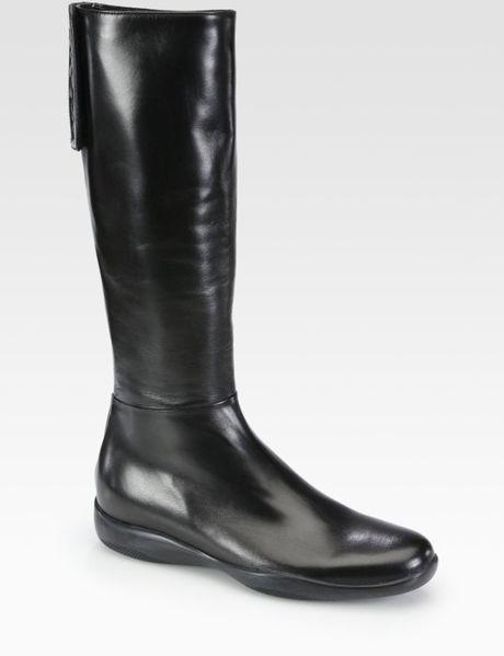 prada leather logodetail boots in black nero lyst