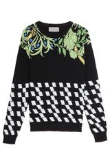 Preen Checker Intarsia Knit Sweater in Black - Lyst
